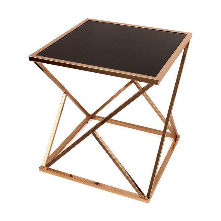 Danya B™ Square Geodesic Rose Gold End Table with Black Glasstop (Danya B Rose Gold End Table with Black Glasstop)