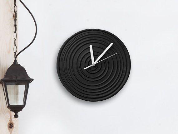 #blackandwhite #wallclock #homedecor #artdesign #minimalist  Black Clock Black WALL CLOCK Black home decor by PilipArt on Etsy