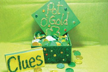 """Pot o' Gold treasure hunt. Create a chest full of candy coins and send your kids on a treasure hunt for a """"pot of gold""""!"""