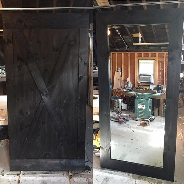 We are loving this X-Brace with Border barn door we made with a full length mirror on the back! This will be a beautiful and functional piece for our client's master bedroom #RusticRoo #barndoors #rusticandfunctional #custom #handmade #woodworking #rustic #interior