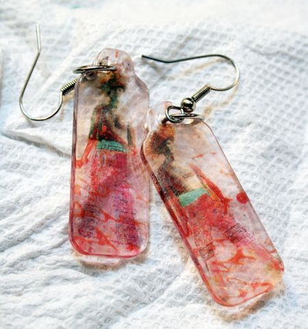 Earrings-final-sm - Great tutorial for making transfers with packing tape