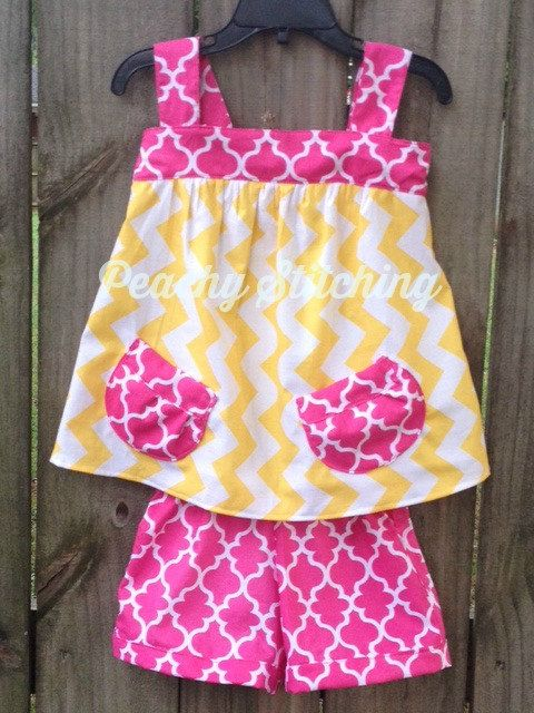 Chevron Top and Shorts Outfit by PeachyStitching on Etsy, $45.00