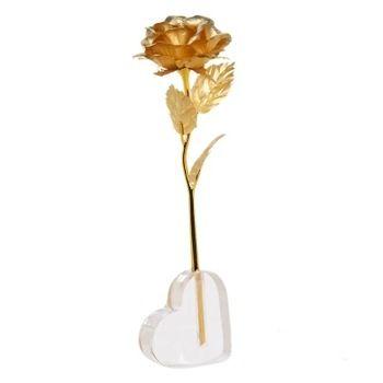 24 k ouro rosa de ouro PVC decoração de casamento ouro do dia dos namorados ouro mergulhado Rose flor artificial