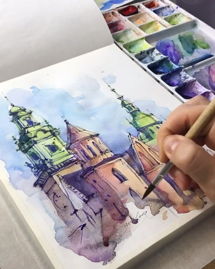Watercolor Artist On Instagram The Gothic Castle In Krarow