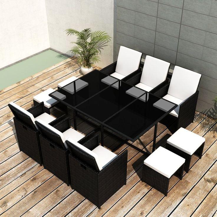 vidaXL 27 pcs Patio Rattan Wicker Garden Dining Set Chairs Table Outdoor Black #vidaXL