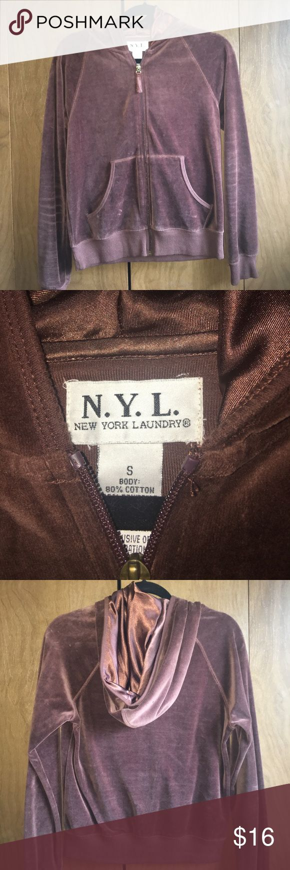 NYL Brown Soft Zip Up Hoodie NEW - this is a super soft warmer brown zip up hoodie with satin hood. NYL Jackets & Coats Utility Jackets