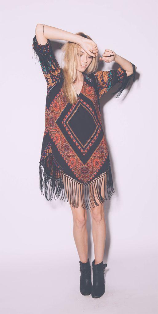Love this look! Oversized aztec fringe dress