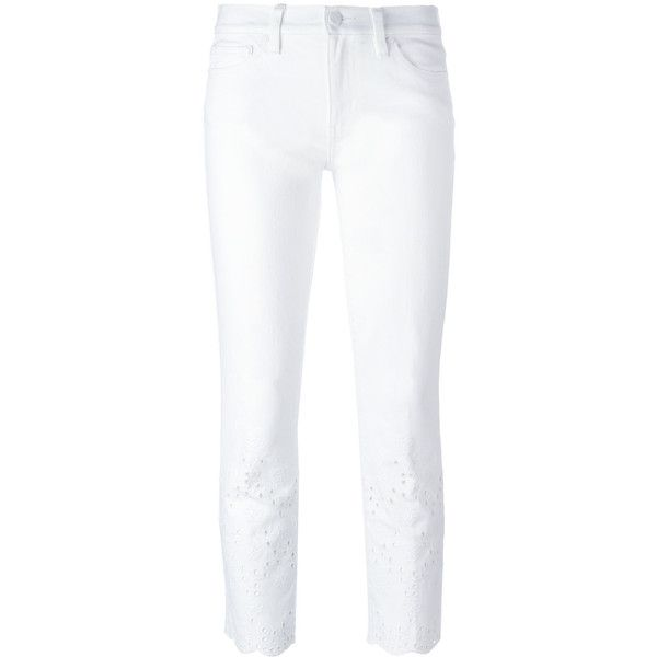 Tory Burch Embroidered Cropped Trousers ($166) ❤ liked on Polyvore featuring pants, capris, cropped pants, white crop pants, cropped capri pants, white pants and cropped trousers