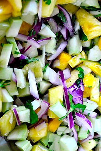 Cucumber Salad Recipe with Fresh Pineapple and Cilantro