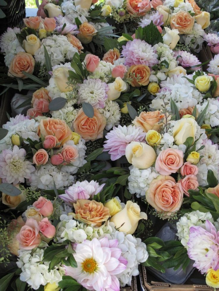 Pink Peach Yellow And White Wedding Flowers By