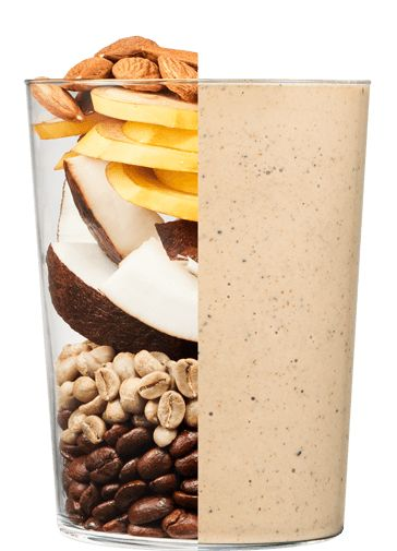 Cold Brew + Almond Energizer Smoothie: COLD BREW COFFEE ALMONDS BANANA CACAO COCONUT OIL GREEN COFFEE BEANS VANILLA BEAN SEA SALT