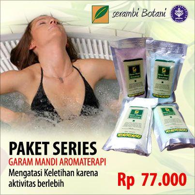 Garam mandi Aromaterapi yang membantu mengatasi keletihan, membuat otot tubuh menjadi lebih rilex dan santai