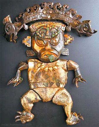 ancient peruvian pottery | Feline Figure, Moche period (100-700) Gilt bronze, gold, spondylus ...