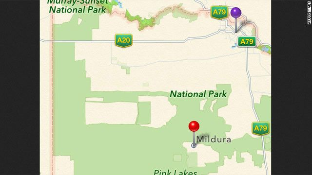 Apple Maps Bug: Potentially Life-Threatening: Apple Maps lists the Australian city of Mildura (purple pin) as being 70 kilometers away, in the middle of a national park (red pin).