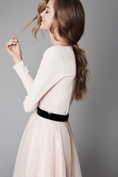 Abendkleid in nude - mix & match - langer Tüllrock