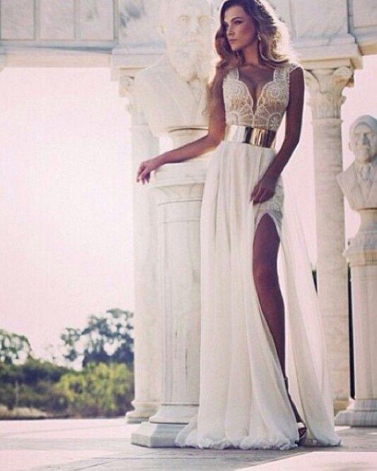 Amazing gold white wedding dress