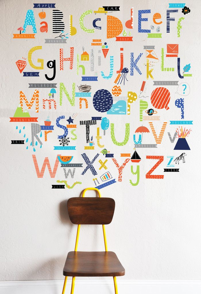Hand Drawn Alphabet Die Cut Decals - Primary - WALL DECAL