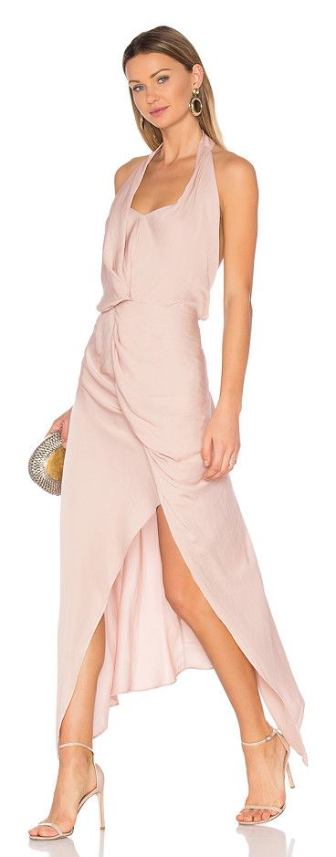Jules dress by One Fell Swoop. 100% poly. Hand wash cold. Draped front detail. Halter neck with button closure. Asymmetrical hem. Hidden back zipper...