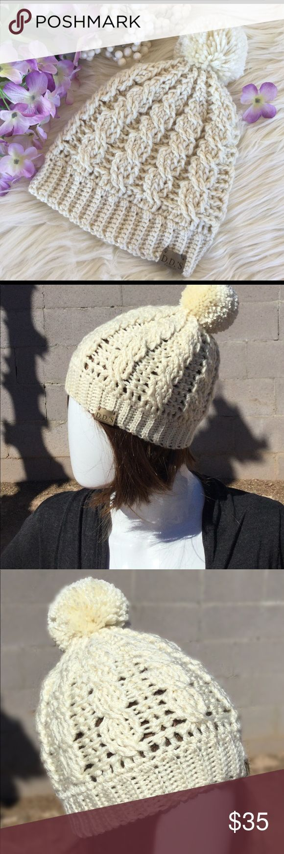 "Crochet Cable Pompom Hat Baby, it's still cold outside! Spring is showing itself to be much cooler this year. We haven't seen the end of winter just yet! You will love this adorable hat. It makes a wonderful gift, and fits crowns 20-23""! Great for that lady in your life that wants to stay warm and cozy! This hat can be custom made in your choice of color (for a custom fee of $5) by using the color swatch provided in the pics! Don't be fooled by cheap goods, buy boutique! You will be glad you…"