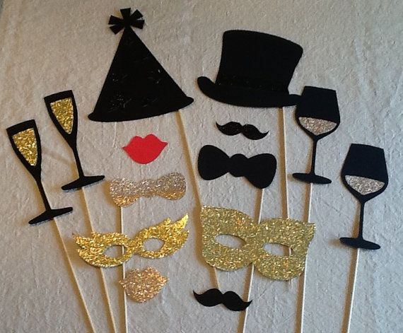 Classy Photo Booth Props 14 pc Glitter Holiday Props Party Wedding Props Masquerade New Years  Photobooth Props
