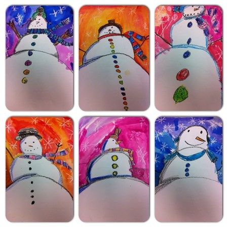 """Artsonia Art Museum :: """"Looking up at Snowmen - new perspectives in 3rd Grade"""" by msallums1"""