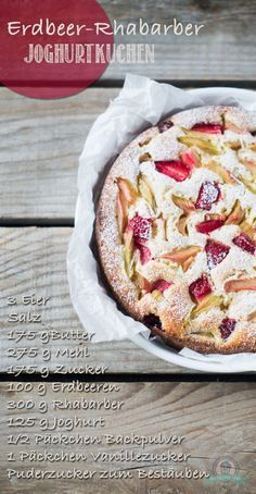 Erdbeer-Rhabarber Joghurtkuchen Super fluffig! Allerdings sind bei mir alle Früchte versunken, hatte noch etwas Natron dazu wegen der Säure....