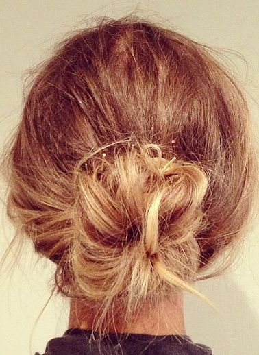 Messy bun perfection.
