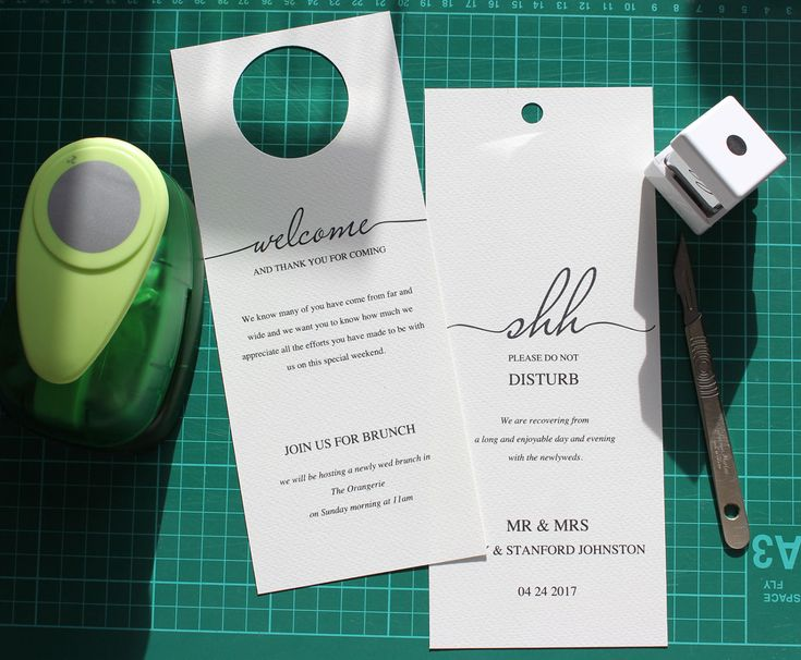 Wedding Door Hanger 'Shh' 2 sided Template to welcome your guests and let them have a lie in too!