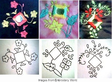 Square shisha embroidery