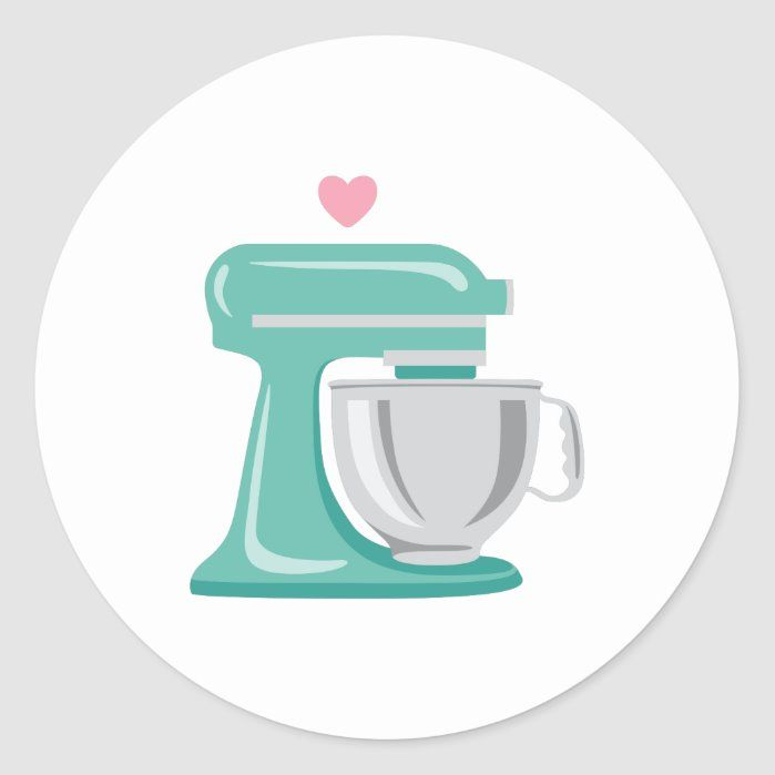 Stand Mixer Classic Round Sticker Diy Watercolor Painting Baking Logo Design Round Stickers