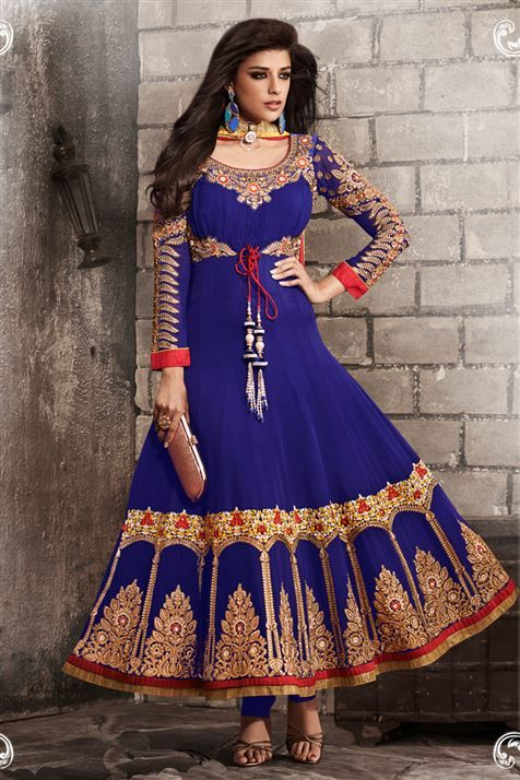 Georgette Blue Floor Touch Anarkali wear  Suit