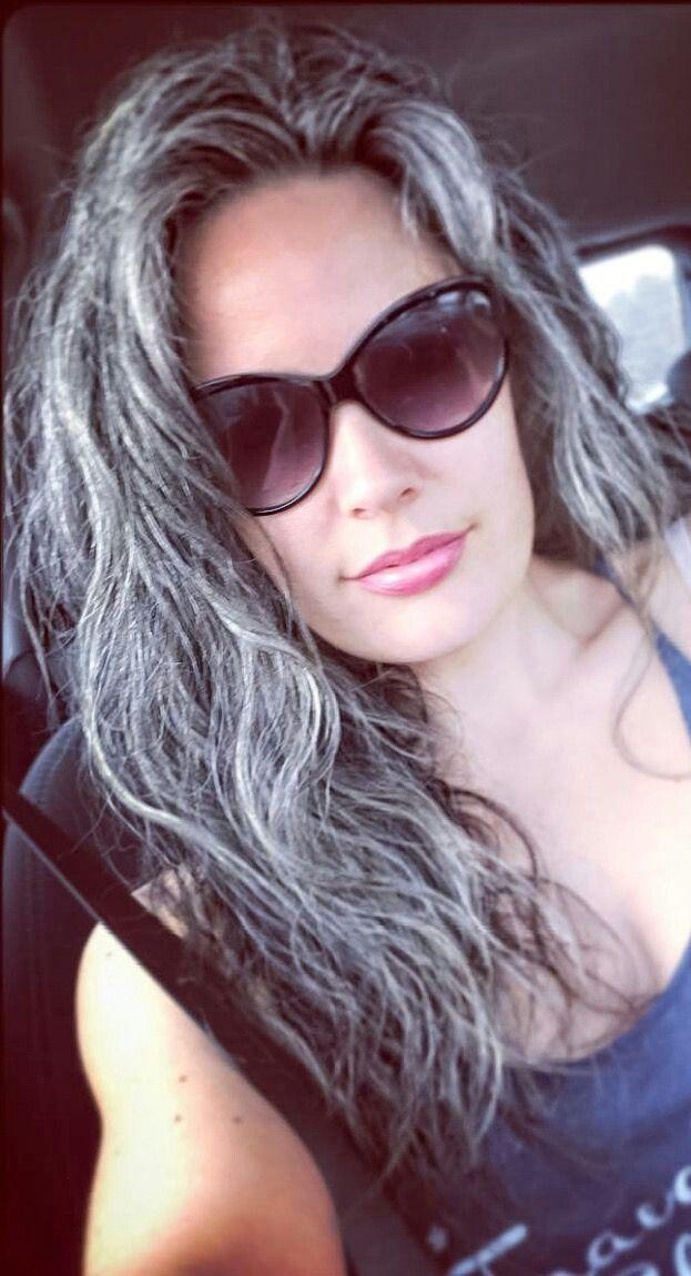 Grey. Silver hair.