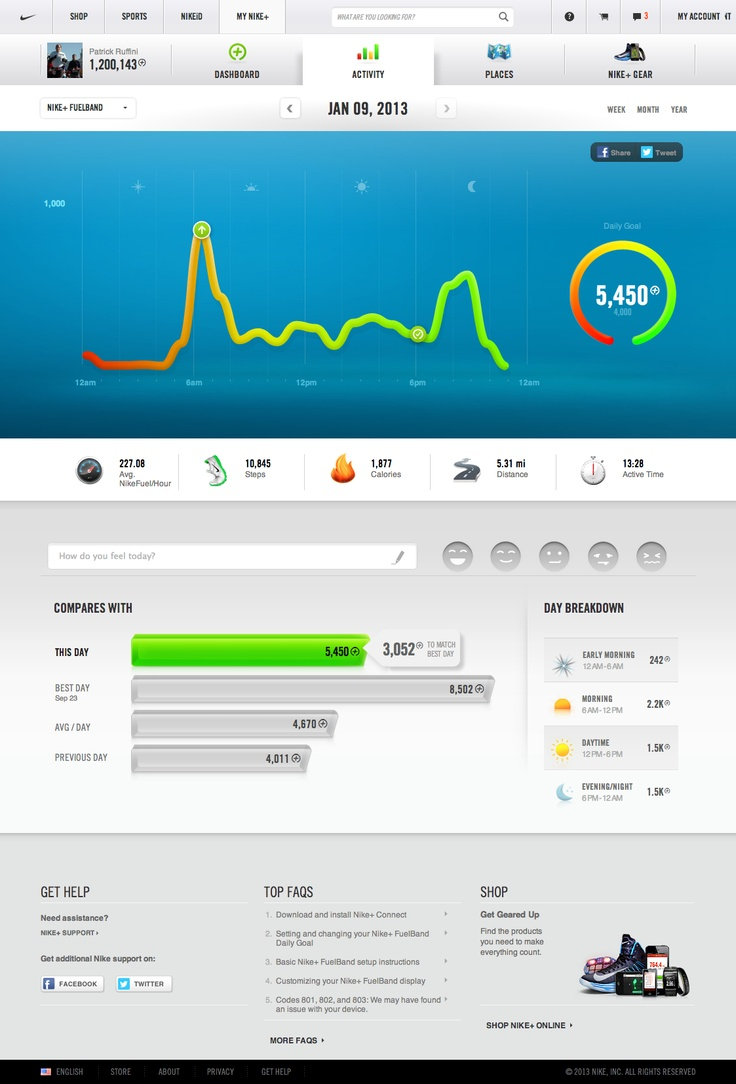 Nike+ Fuel — simple, sleek, accented color interface