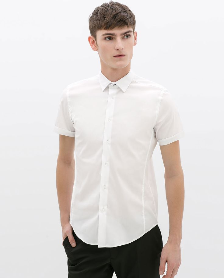 Image 3 of STRETCH SHIRT WITH CONTRASTING RIBBON from Zara