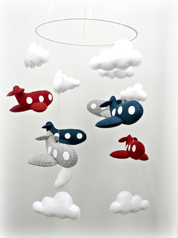 Airplane mobile  baby mobile  nursery decor  You par LullabyMobiles, $334.00