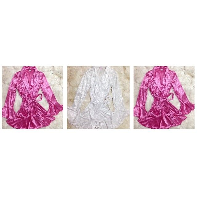 Your Australian made and manufactured robe supplier - supplying personalised/embroided robes for bridal parties, pamper parties, beauty pageant queens, girls/spa nights, birthday presents ect. Pictured: Bride and Bridesmaids in white and pink soft crushed velvet. Enquire today: tessa@cherishherkiss.com.au