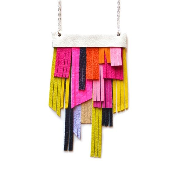 Leather Fringe Neon Bib Necklace, Geometric Necklace in Orange, Yellow, Neon Green and Black  - Boo and Boo Factory - Handmade Leather Jewelry