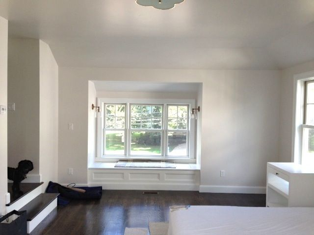 EOS: To keep the ceilings feeling high we painted the walls and ceiling the same color (Sherwin Williams Incredible White)