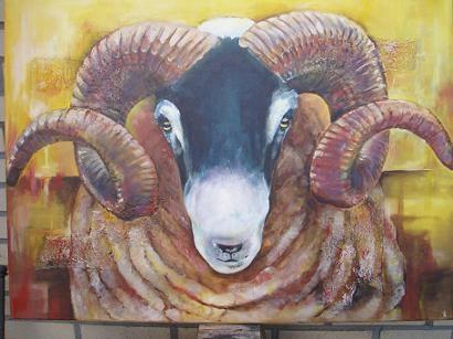 schilderij- acrylverf-blackfacesheep