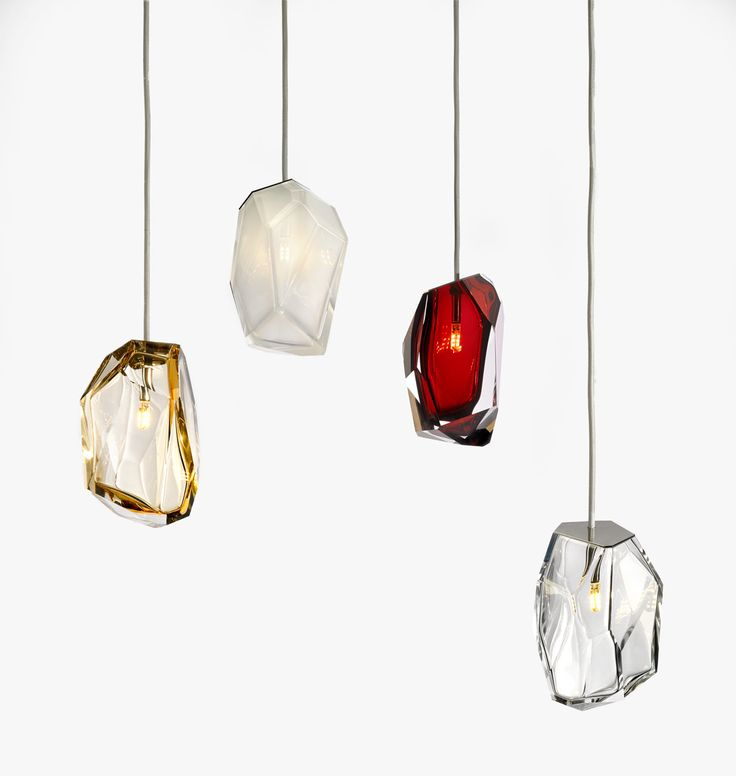 Cut glass pendant lamps called TCrystal Rock lights, designed by Arik Levy for Lasvit