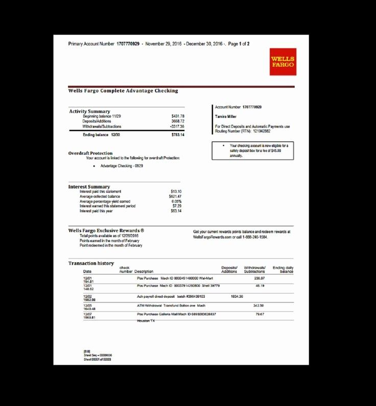 Fake Chase Bank Statement Template Awesome 9 Wells Fargo Bank