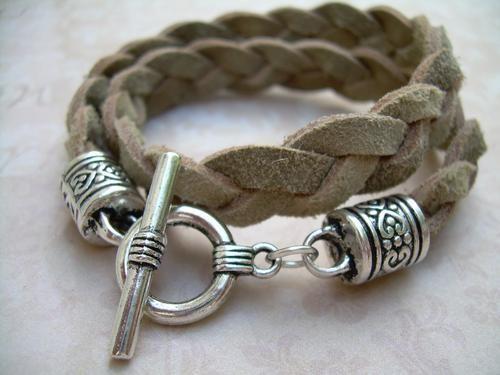 Womens Flat Braided Suede Leather Bracelet - Tan