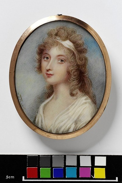 An unknown young woman    Object:  Miniature    Place of origin:  Great Britain, UK (painted)    Date:  ca. 1800 (painted)    Artist/Maker:  Knight, Mary Ann, copyright V