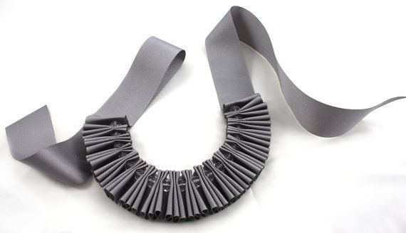 Chunky Grey Crystal Pleated Ribbon Necklace etsy seller maneggi $28