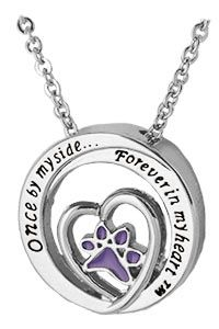 Forever in My Heart Purple Paw Necklace
