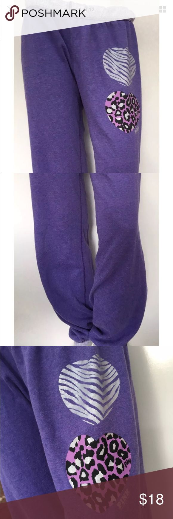 VS Love Pink Purple Sweatpants M Animal Print Pre-Owned Victoria Secret Love Pink Graphic Purple Sweatpants SZ M Animal Print HeartWomen Baggy Gym Sleepware Causal Full Length Online Shopping Female Chi  Measurements: 41 1/2 inches (From waist to bottom of pants) 24 1/2 inches (From side of hip area to other side of hip area) PINK Victoria's Secret Pants