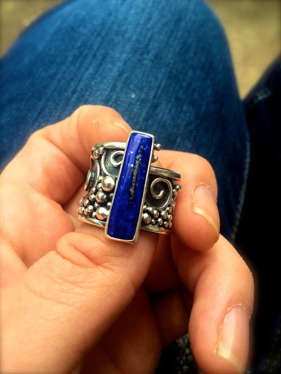 Lapis Gypsy Ring Palms Open by DeliasStudioLimited on Etsy