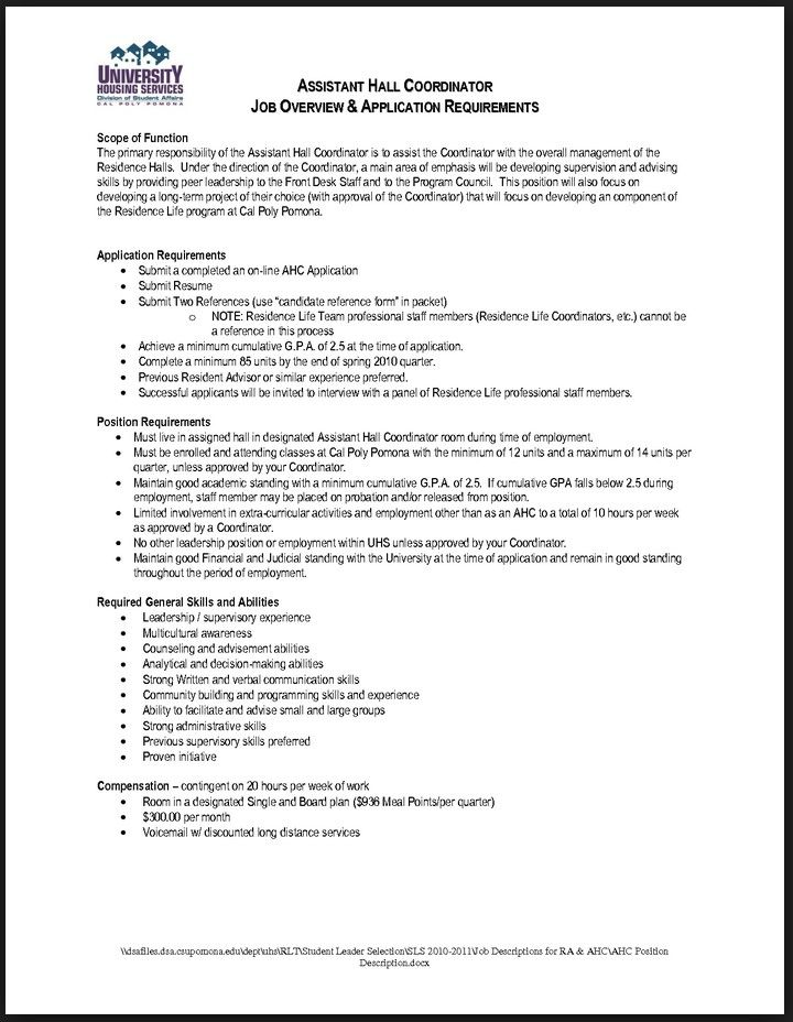 Resident Assistant Resume Template Resume Template