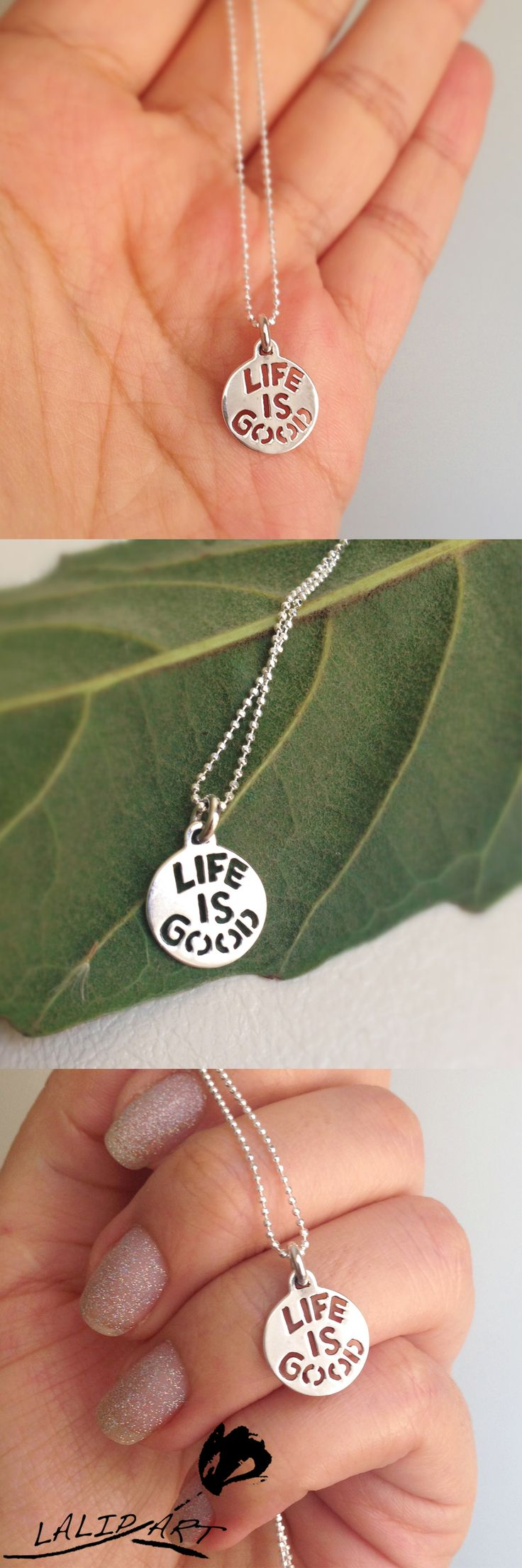 written silver necklace - life is good necklace - silver tiny disc charm - phrasal disc charm - silver written pendant -life is good pendant.By LalipArt