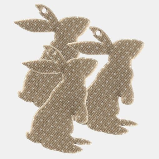 Decotag hare 70mm sand 3 pcs - Easter bunnies